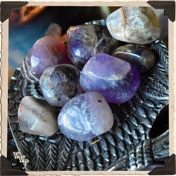 AMETHYST TUMBLED CRYSTAL. For Divination, Third Eye & Spiritual Growth.