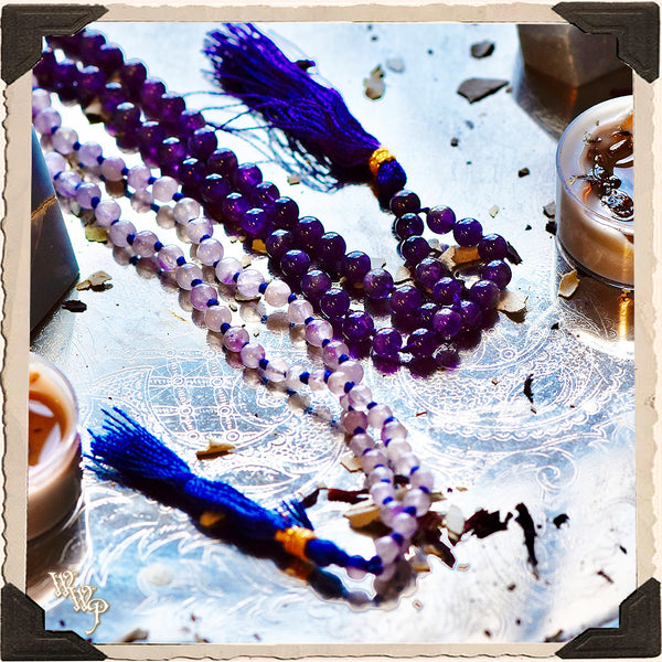 AMETHYST CRYSTAL MALA. 108 Beads. For Enhancing Magick, Psychic Awareness & Protection.