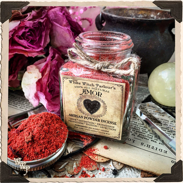AMOR Powder Incense. All Natural. Blessed with Rose Quartz For Love & Friendship.