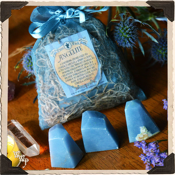 ANGELITE CRYSTAL POINTS SET. For Peace, Inspiration & Angel Guidance.