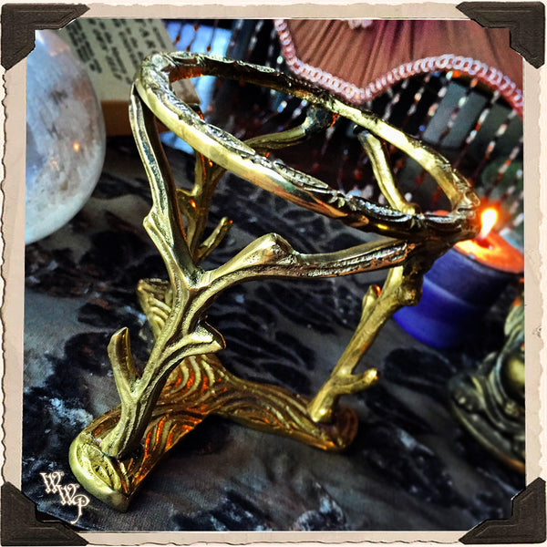 BRASS BRANCHES SPHERE STAND / BASE. Large Gold Metal Woodland Crystal Sphere Tripod Holder. 50mm - 100mm