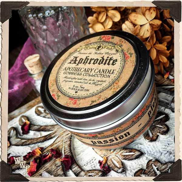 APHRODITE GODDESS CANDLE. 6 oz. For Love, Beauty, Pleasure, Passion & Procreation.