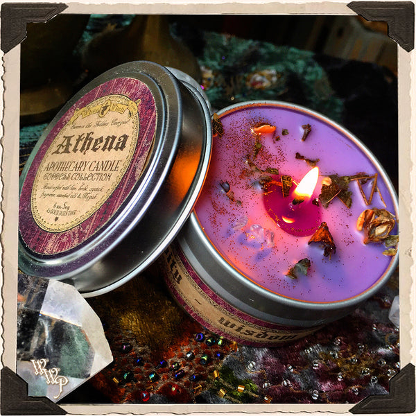 ATHENA GODDESS CANDLE. 6 oz. For Courage, Creativity, Wisdom, Justice & Inspiration.