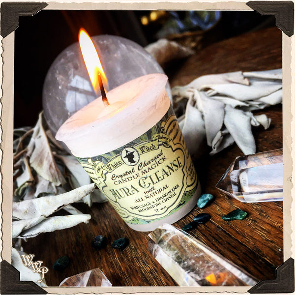 AURA CLEANSE VOTIVE CANDLE. All Natural Frankincense Resin, White Sage Essential Oil & Bloodstone Crystal