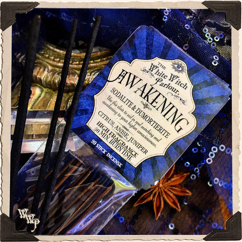 AWAKENING Elixir INCENSE. 20 Stick Pack. Scent of Citrus, Anise & Juniper. Blessed by Sodalite & Dumortierite Crystals.