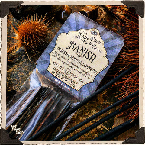 BANISH Elixir INCENSE. 20 Stick Pack. Scent of Berries and Sagebrush. Blessed by Tiger's eye, Lepidolite & Hematite.