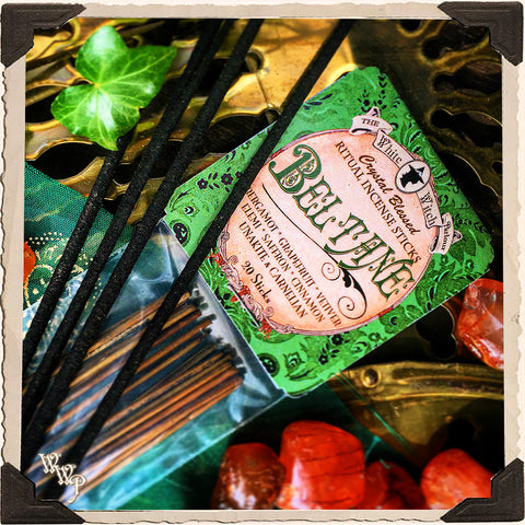 BELTANE INCENSE. 20 Stick Pack. May Day. Scent of Bergamot, Grapefruit, Vetiver, Elemi, Saffron & Cinnamon. Blessed by Unakite & Carnelian Crystals.