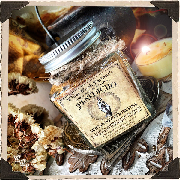 BENEDICTIO Powder Incense. All Natural. Blessed with Selenite for Home Blessings & Energy Purifications.