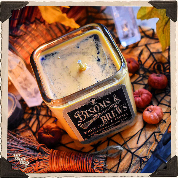 BESOMS & BREWS Apothecary CANDLE 7oz. For Hallow's Eve, Witchery & Autumnal Energy.