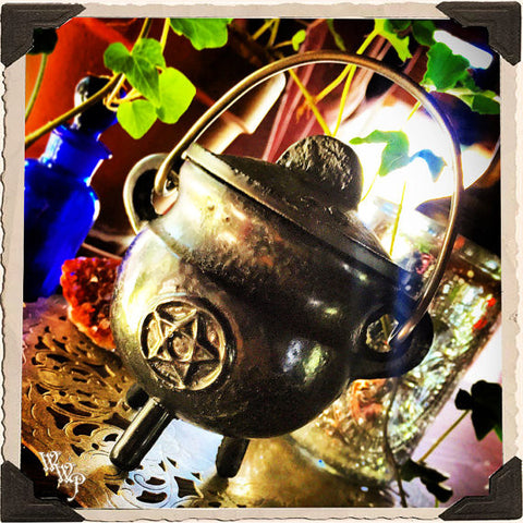 Black Cast Iron Altar CAULDRON with Pentacle / Pentagram For Resins, Herbs & Incense