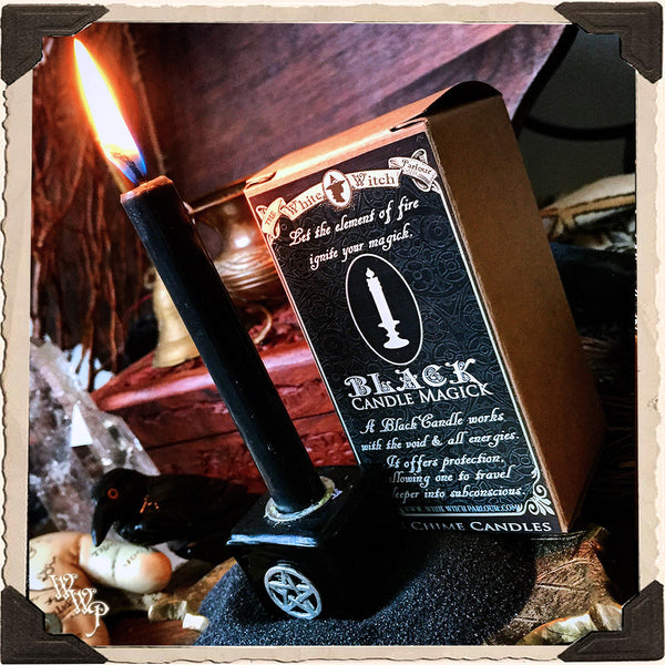 BLACK SPELL CANDLES. 9 Pack - Unscented. For Mystery, Magic & All Energies.