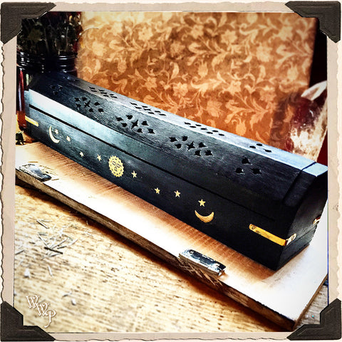 BLACK COFFIN BOX. Wooden Incense Burner with sun, moon and stars. Incense Stick & Cone Holder.