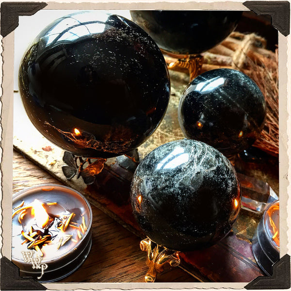 BLACK OBSIDIAN SPHERE CRYSTAL. For New Moon, Protection, Scrying & Divination.