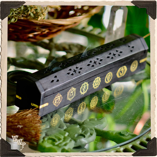 CHAKRA SYMBOLS BLACK COFFIN BOX. Wooden Incense Burner for Incense Stick & Cone Holder.