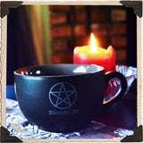 """BLESSED BE"" PENTACLE COFFEE / TEA MUG. Large Black & Gray Witches Cauldron Cup."