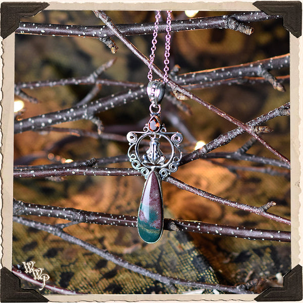 LIMITED EDITION : BLOODSTONE FROG PENDANT NECKLACE. For Grounding, Healing & Generosity. Sterling Silver. (SKU:D2258)