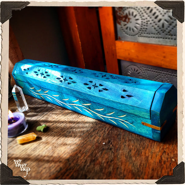 GYPSY TEAL WOODEN INCENSE BURNER. Box For Incense Sticks & Cones.