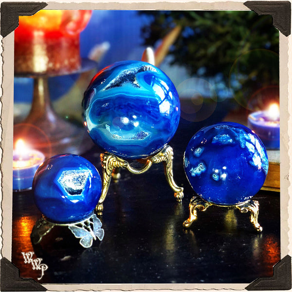 BLUE ONYX SPHERE CRYSTAL. For Creativity, Relieving Stress & Focus.