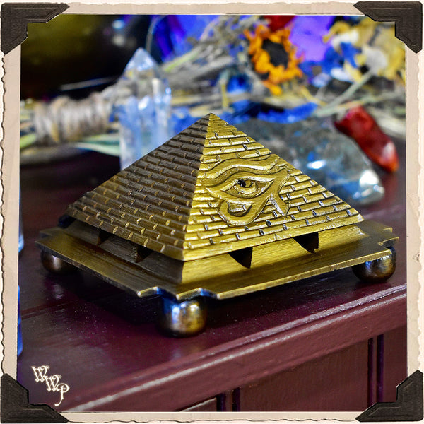 BRASS PYRAMID 'EYE OF HORUS' INCENSE BURNER. For Cone Incense Spiritual Altar Decor