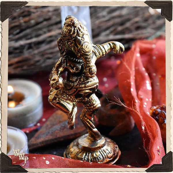 BRASS GANESHA STATUE. Mini Altar Decor For Removing Obstacles & Good Fortune.