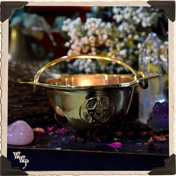 PENTACLE BRASS CAULDRON with Handle For Resins, Herbs & Incense.