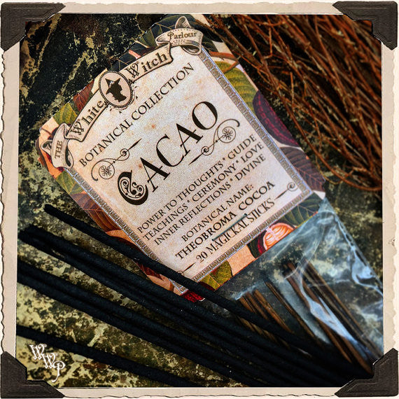CACAO INCENSE. 20 Stick Pack. Single-Note Botanical Chocolate Scent, Blessed by Clear Quartz Crystal.