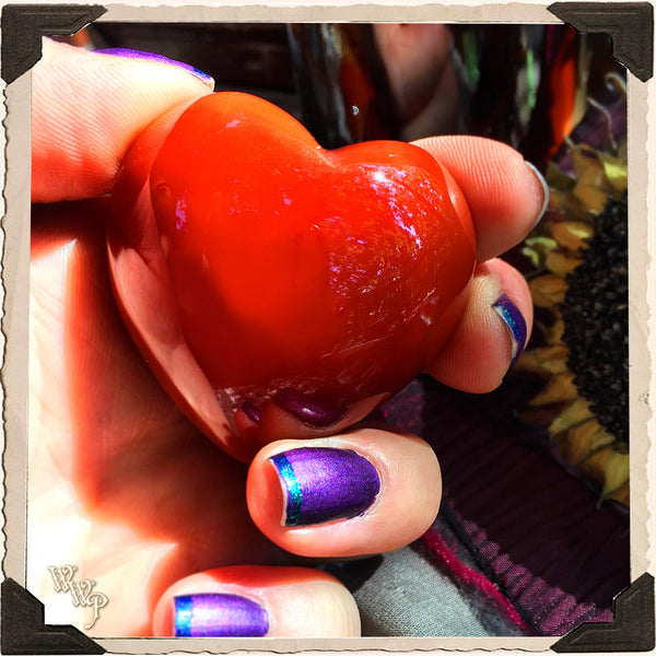 CARNELIAN HEART CRYSTAL. For Positive Energy, Motivation, Courage & Meditation. 45mm.