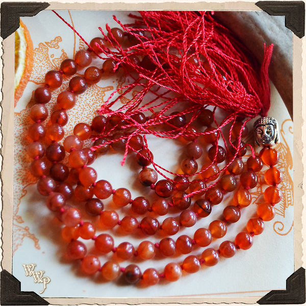 CARNELIAN MAGICK MALA. 108 Beads For Prayer, Positive Energy, Motivation & Courage.