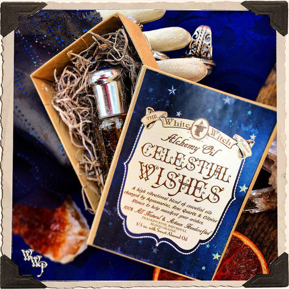 CELESTIAL WISHES All Natural Alchemy Oil 1/5oz. Frankincense, Patchouli, Blood Orange. Blessed by Aquamarine, Rose Quartz & Citrine Stones. For Manifestation.