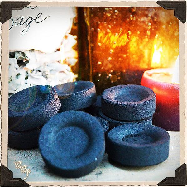 CHARCOAL DISK TABLET. 33mm Self lighting 10 Pack. For Incense, Resin & Herbs.