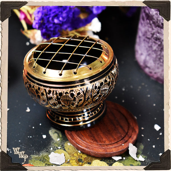 CHARCOAL BURNER with Brass Screen & Wooden Coaster, Incense Censer for herbs, resins and oils.