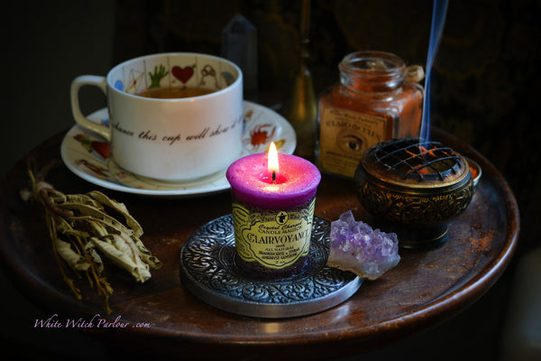 CLAIRVOYANCE VOTIVE CANDLE. All Natural Styrax Resin, Frankincense Essential Oil & Amethyst Crystal