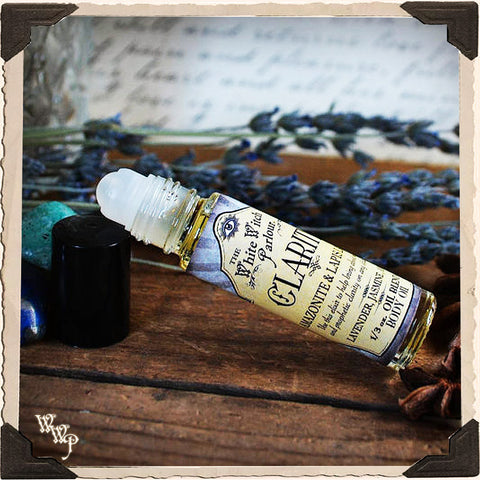 CLARITY Elixir 1/3oz. BODY OIL Rollon. Scent of Lavender, Jasmine & Anise. Blessed by Lapis Lazuli & Amazonite Crystals.