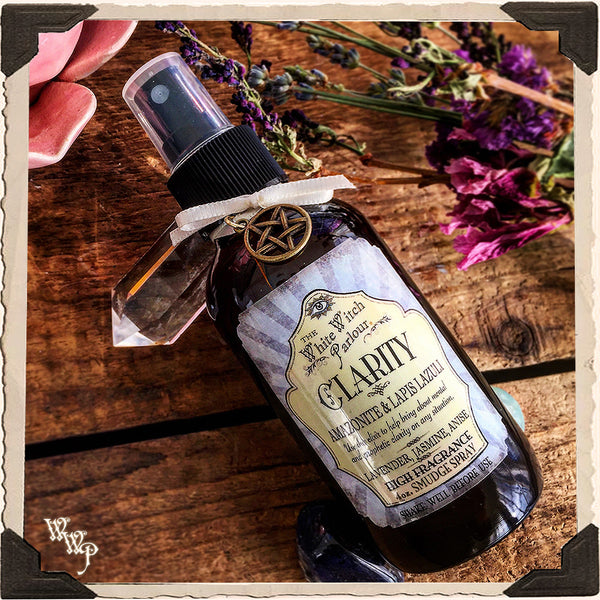 CLARITY Elixir 4oz. SMUDGE SPRAY. Scent of Lavender, Jasmine & Anise. Blessed by Lapis Lazuli & Amazonite Crystals.