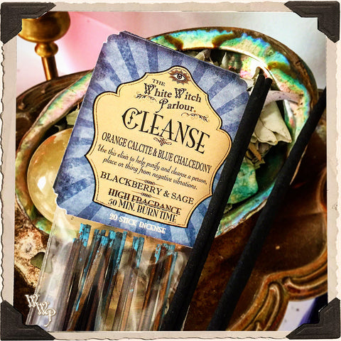 CLEANSE Elixir INCENSE. 20 Stick Pack. Scent of Blackberry & Sage. Blessed by Orange Calcite & Blue Chalcedony Crystals.
