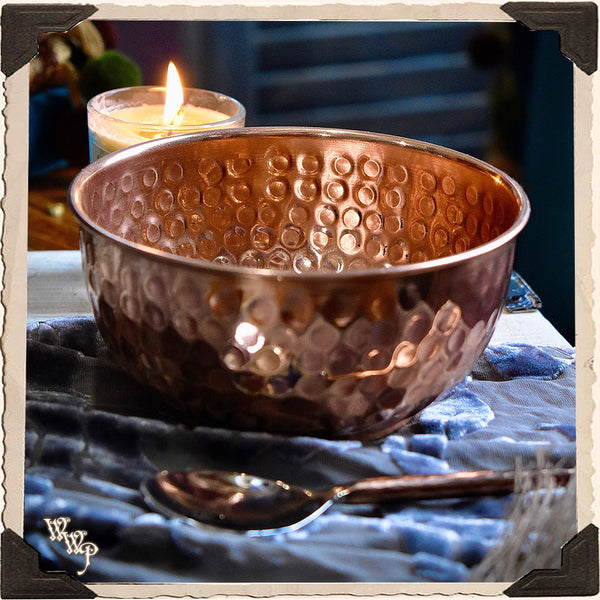 COPPER OFFERING BOWL With Spoon. Ritual Smudge Pot & Charcoal Burner.