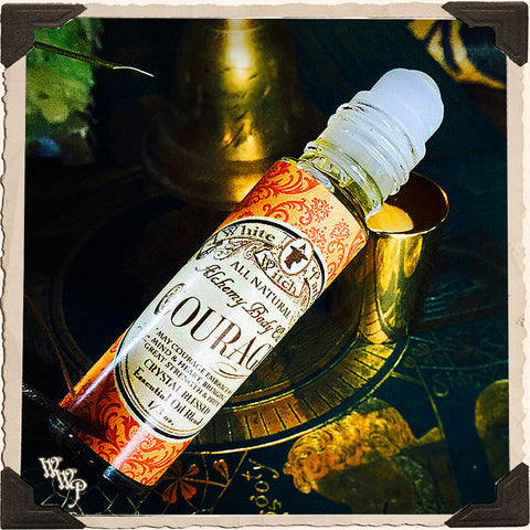 COURAGE 1/3oz. Alchemy Oil. All Natural Potion. Scent of Patchouli, Amber & Myrrh. Blessed by Carnelian & Tiger's Eye Crystals.