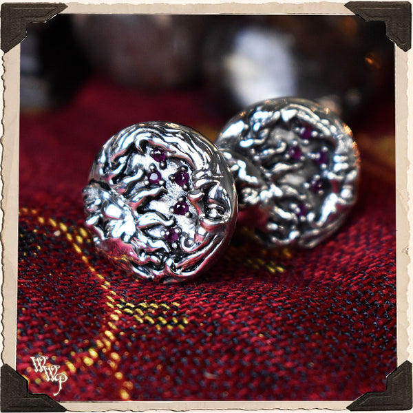 LIMITED EDITION : RED GARNET SUN MOON CUFFLINKS. For Protection & Witchcraft. Sterling Silver.( SKU:26405 )