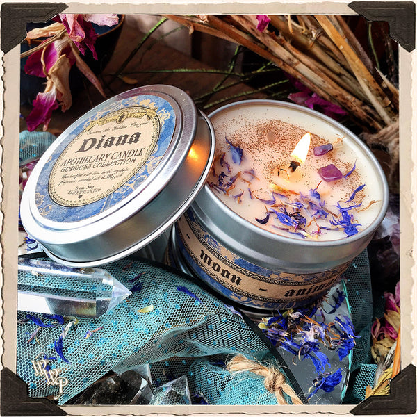 DIANA GODDESS CANDLE. 6 oz. For Intuition, Motherhood, Moon, Animals, Purity.