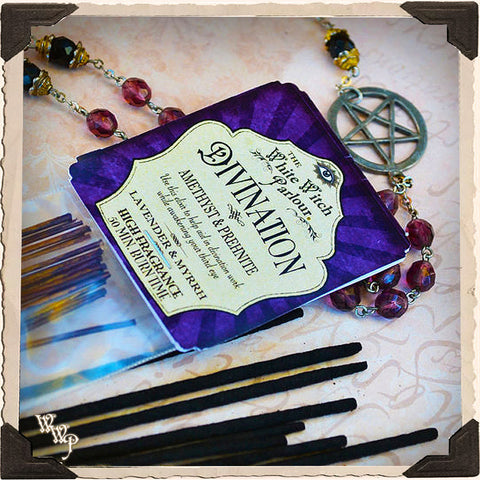DIVINATION Elixir INCENSE. 20 Stick Pack. Scent of Lavender & Myrrh. Blessed by Amethyst & Prehnite Crystals.