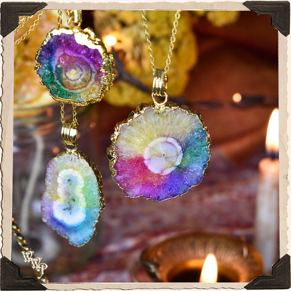 AURA CLEANSE SOLAR QUARTZ CHAKRA PENDANT NECKLACE. Electorplated Rainbow Energy Talisman.