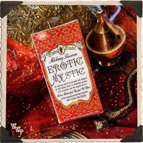EROTIC MYSTIC CONE INCENSE. Blessed by Red Garnet Crystal. For Passion & Kundalini Energy.