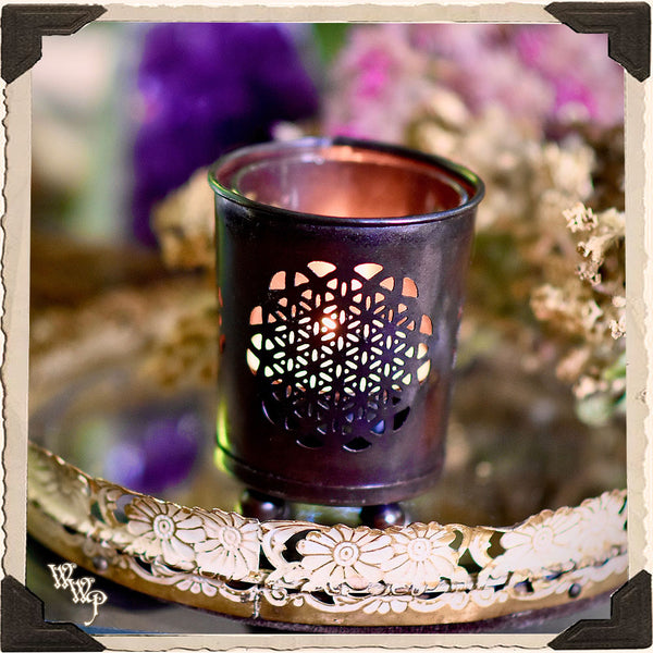 FLOWER OF LIFE CANDLE HOLDER. For Tealights & Votives Altar Decor.