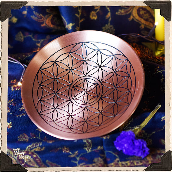 COPPER 'FLOWER OF LIFE' DISH. Ritual Smudge Plate & Offering Bowl.