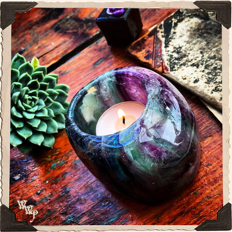 FLUORITE CANDLE HOLDER. For Spiritual Awakening & Psychic Awareness. Tealight Crystal.
