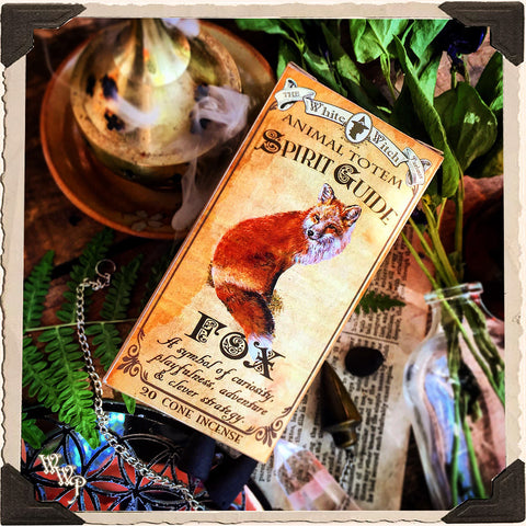 FOX Animal Totem Cone INCENSE. Blessed by Tiger's Eye & Quartz. For Adventure, Strategy, Curiosity.