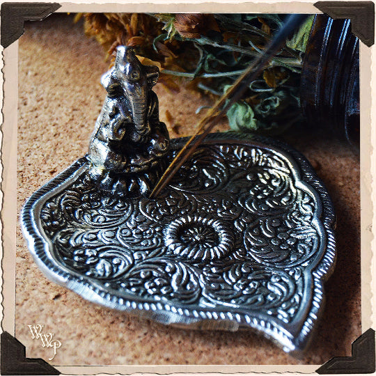 GANESHA BOHEMIAN INCENSE BURNER. Aluminum Dish. Incense Stick & Cone Holder.