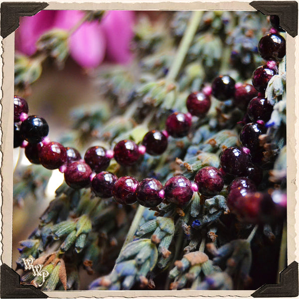 RED GARNET CRYSTAL MALA. 108 Beads. For Sexuality, Root Chakra, Success & Power.