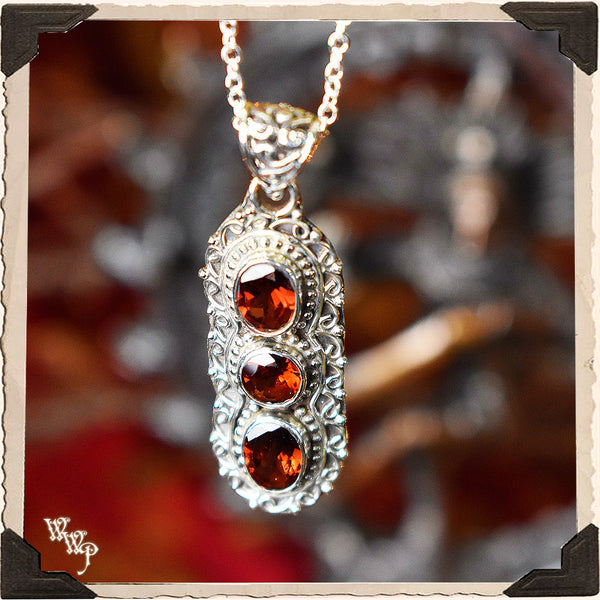 LIMITED EDITION : TRIPLE RED GARNET NECKLACE PENDANT. For Protection & Witchcraft. Sterling Silver.( SKU:448AB )