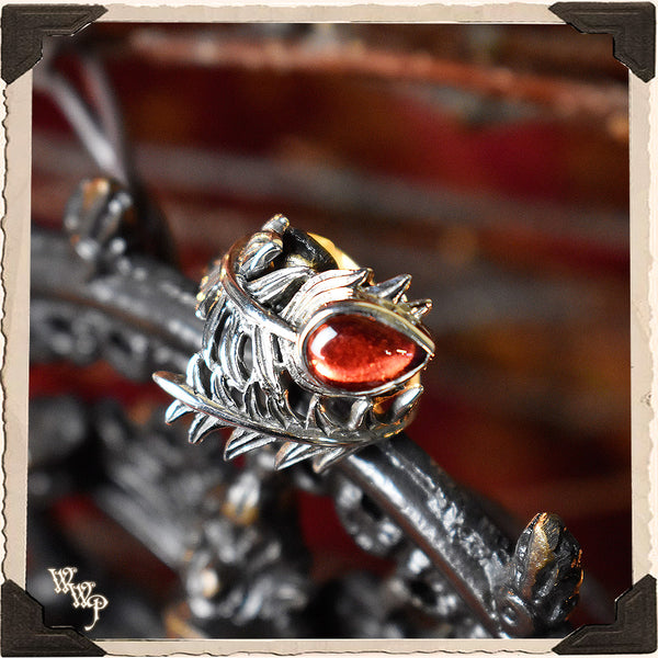 LIMITED EDITION : RED GARNET FEATHER RING. For Protection & Witchcraft. Sterling Silver.( SKU:370B )